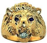 Sapphire & Diamond Lion Head Ring 14K Yellow Gold Band