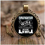 COLOSTORE I'm A Firefighter's Wife Necklaces, The Strength Behind The Boots Necklaces (Necklace - Antique Brass - Black)
