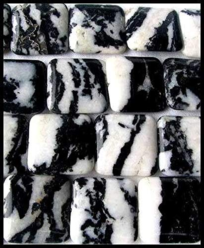 Hot One Black & White Zebra Agate Square Bead 008613