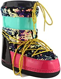 94c497e7600e MB-11 Women Ankle High Ski Snow Winter Lace Up Glitter Moon Boots Rose Gold