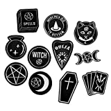 Gothic Enamel Pin Set, 11 Pieces Black Goth Witch Ouija Skull Death Coffin Soft Enamel Pins