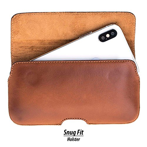 Burkley Case Leather Belt Clip Holster with Magnetic Closure for Apple iPhone X/iPhone Xs | Horizontal Belt Clip Case Made from Genuine Leather (Burnished Tan) (Tan Belt Holster)