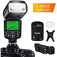 ESDDI Flash Speedlite Canon, E-TTL 1/8000 HSS LCD Display Wireless Flash Speedlite GN58 2.4G Wireless Radio Master Slave, Professional Flash Kit Wireless Flash Trigger Canon DSLR Cameras