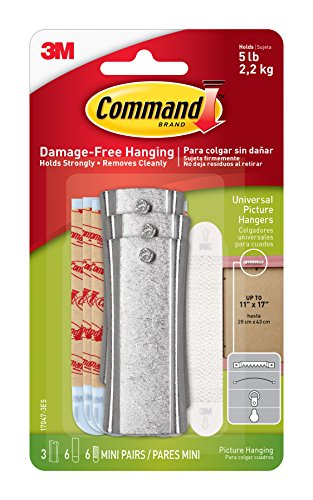 Command Picture Hanger - Command Large Universal Picture Hangers w/Frame Stabilizer Strips, 3-Hangers, Hangs 5-Pounds (17047-3ES)