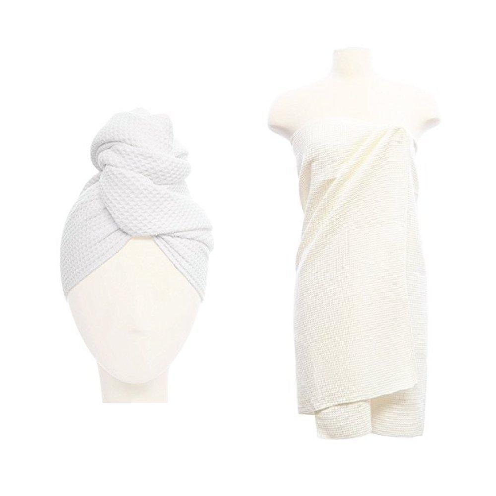 Aquis Waffle Hair Towel & Body Towel, White by AQUIS