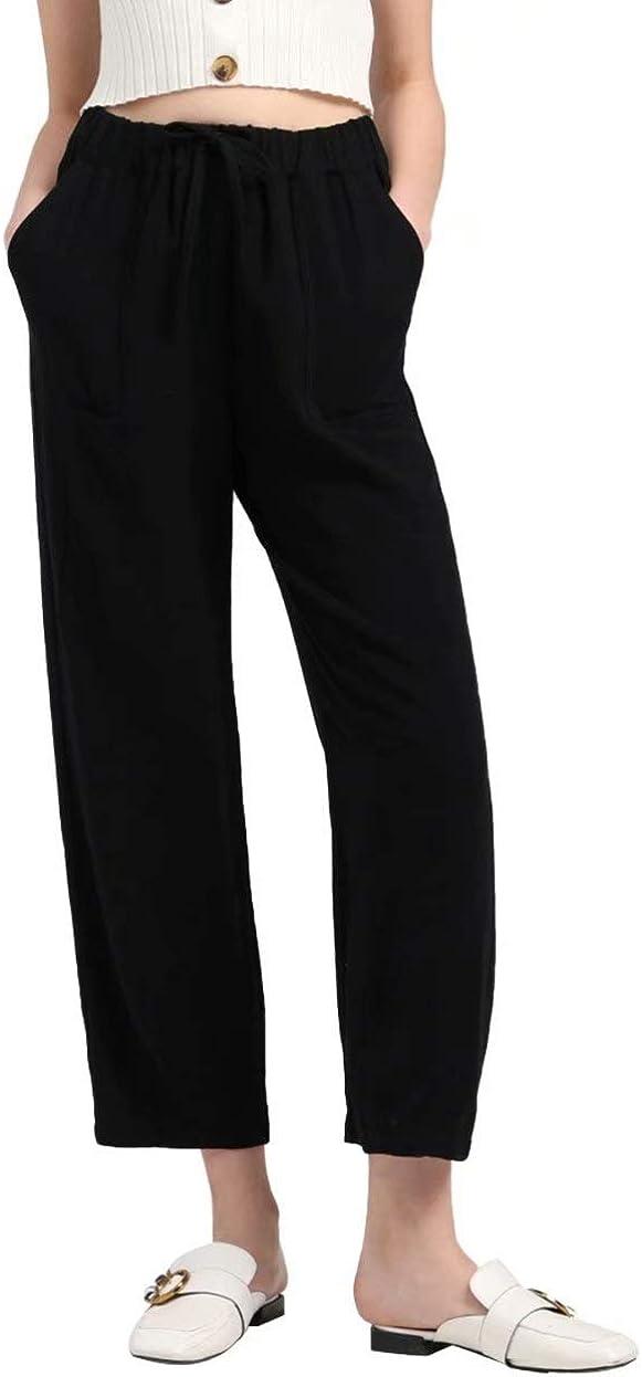 MEOMUA Women's Linen Pants Soft Cotton Drawstring Elastic Waist Cropped Pant