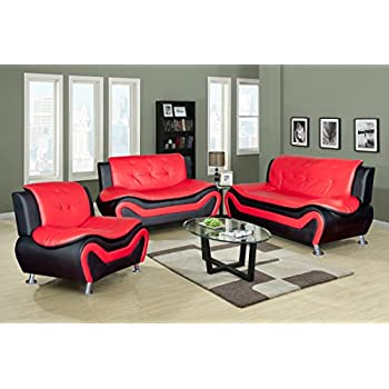 LifeStyle Contempraray Faux Leather Living Room Sofa Set, Red/Black, 3 Piece Part 76
