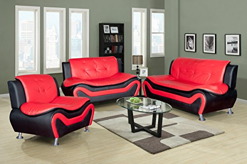Beverly Furniture 3Piece Red-Black Contempraray Faux Leather Living Room  Sofa Set - Beverly Furniture 3Piece Red-Black Contempraray Faux Leather