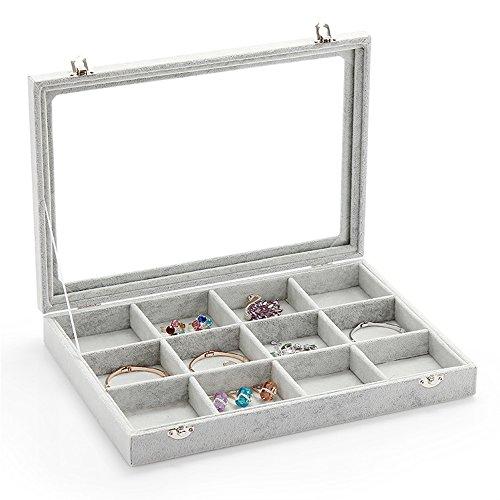 Wuligirl Ice Velvet Clear Lid 12 Grid Jewelry Tray Showcase Display Storage Rings Earrings Bracelet(12 Grid)