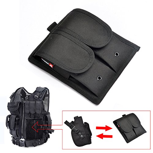 [YAKEDA Army Fans Tactical Vest VT-1063;additional Tactical Pistol Double Mag Pouch VT11(Two] (Beer Koozie Costume)