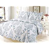 Taj Paisley Printed Bedding 3 Piece Bedspread Quilt Set, Queen