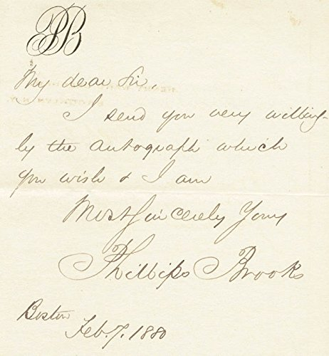 Phillips Brooks Autograph Letter Signed 02/07/1880