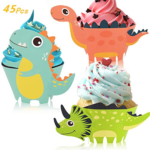 Little Siena Dinosaur Cupcake Wrappers Toppers Set (45 PCS), Little Dino Cupcake Toppers Cake Table Decorations Party Supplies for Boys Kids Birthday Party Decor Favors-Jurassic