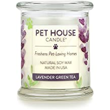 One Fur All 100% Natural Soy Wax Candle, 20 Fragrances - Pet Odor Eliminator, 60-70 Hrs Burn Time, Non-toxic, Eco-Friendly Reusable Glass Jar Scented Candles – Pet House Candle, Lavender Green Tea