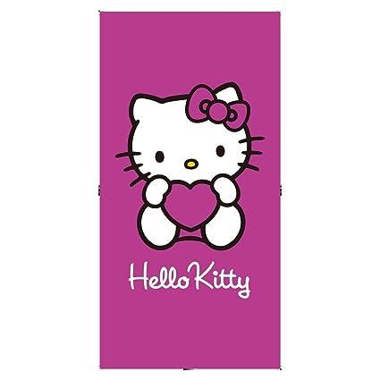 Toalla de playa Hello Kitty fondo rosa de terciopelo toalla Imprimee 70 x 140 cm