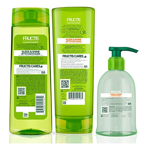 Garnier Fructis Sleek and Shine Shampoo, Conditioner and Anti-Frizz Serum, 5.1 Ounce (Set of 3)