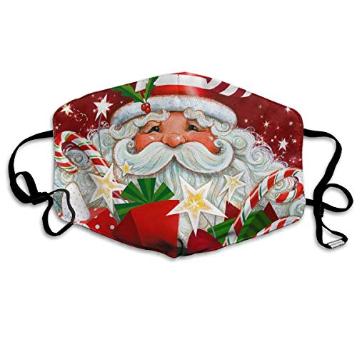 Face Mask Breathable Dust Masks Mouth Cover Masks, Happy Christmas Gift Santa Claus Candy Reusable And Washable For Women Men Boys And Girls Daily Protection For Germ, Gas, Flu, ()