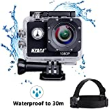 A8 Action Camera 1080P, NZACE Ultra HD Wifi Waterproof 166 Degree Wide Angle 12 MP DV Camcorder Sports Camera with 2Pcs 900mAh Batteries 11 Mounting Kits