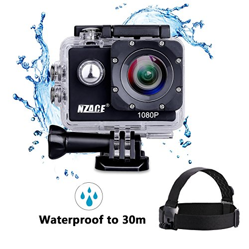 A8 Action Camera 1080P, NZACE Ultra HD Wifi Waterproof 140 Degree Wide Angle 12 MP DV Camcorder Sports Camera with 2Pcs 900mAh Batteries 17 Mounting Kits NZACE