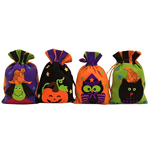 The witch pumpkin Halloween candy bags biscuits gift bags Halloween decorations for Mall kindergarten (set of 4) ()