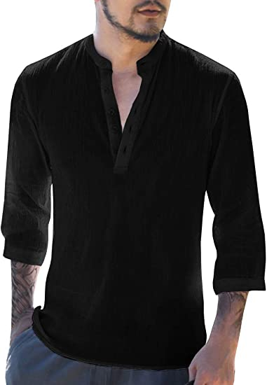 Men/'s Long Sleeve Henley Shirt Cotton Linen Beach Yoga Loose Fit Tops Blouse US