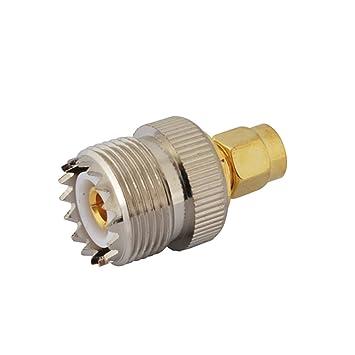 PC-Case 2pcs RF Cable eléctrico Terminal Conector de aleación de cobre sma-uhf adaptador SMA Macho goldplated a UHF hembra recto para antena inalámbrica: ...
