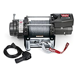 WARN 68801 16.5ti Series Electric 12V Heavyweight Thermometric Winch with Steel Cable Wire Rope: 7/16″ Diameter x 90′ Length, 8.25 Ton (16,500 lb) Pulling Capacity