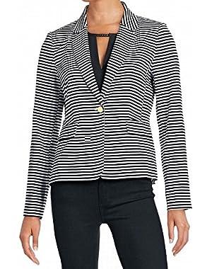 Calvin Klein Womens Striped Shoulder Pad One-Button Blazer