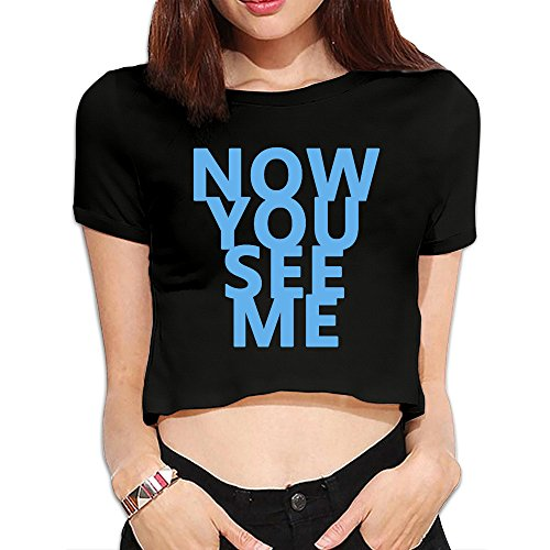 Sunny Fishhh Women's Now You See Me Short Sleeve Crop Top T-Shirts Black