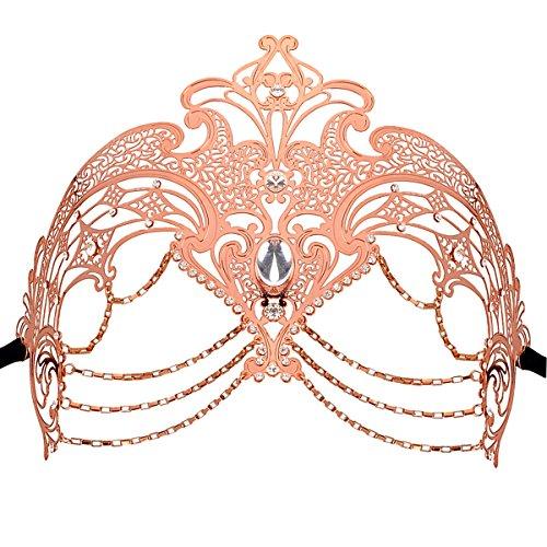 [Metal Venetian Masquerade Masks Mardi Gras Costume Masks with Rhinestones] (Couple Masquerade Masks)
