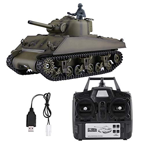 Remote Control Tank, 1/16 Scale 2.4GHz Crawler Vehicle Simulation Toy Model, RC Battle Tank with Rotating Turret…