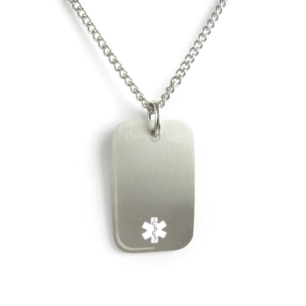 MyIDDr- Engraved Diabetic Medical ID Dog Tag Necklace Stainless steel White My Identity Doctor PDS1W(Diabetic)