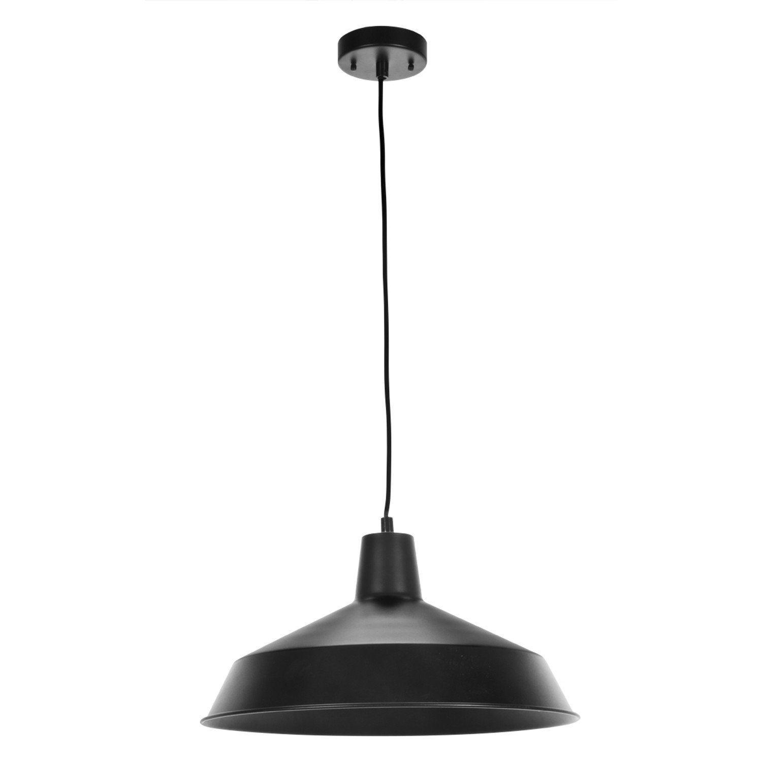 Globe Electric Barnyard 1-Light 16'' Industrial Warehouse Pendant, Matte Black Finish, 65155