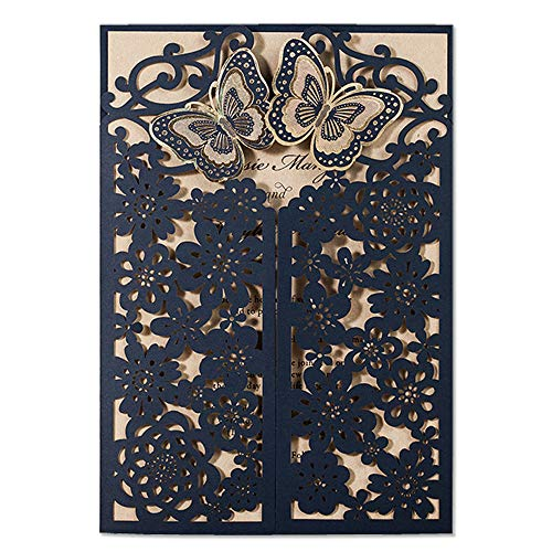 JOFANZA 50PCS Laser Cut Wedding Invitations Card with Navy Blue Butterfly Hollow Flora Design for Bridal Shower Birthday Party Quinceanera (Set of 50pcs)