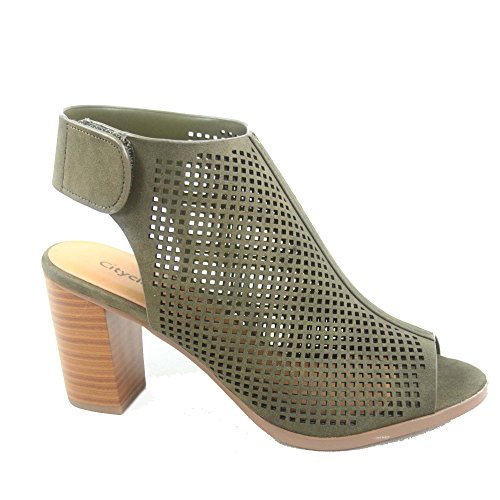 Shoes Sandals Chunky Peep Classified Women's City Toe s Perforated Roadway Khaki Sexy Heel aSqXvPw