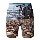 The Breathtaking Glass Beach Men's Summer Casual Swimming Shorts Beach Board Shorts