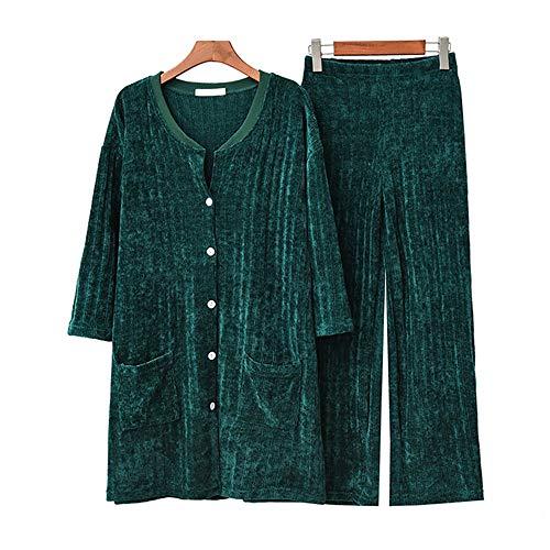 Sueltos Suelto Nuevo Larga Pantalones Pijamas Redondo Cuello Green Conjunto Manga De Mmllse Terciopelo x6qpFAwn1a