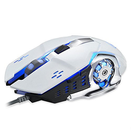Tunable Gaming Mouse,Wired LED Light Optical 1600DPI Gaming Mute Mouse Mice for PUBG (1600dpi Gaming Mouse)