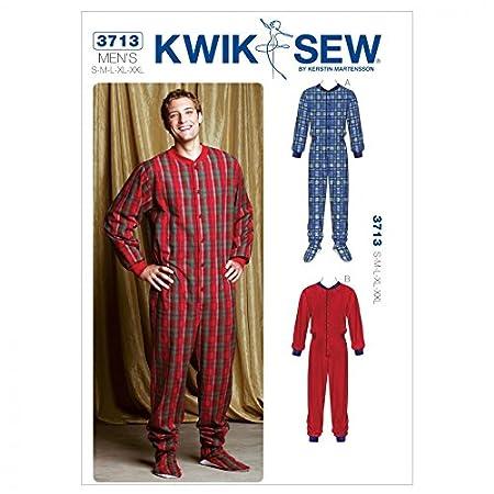 Kwik Sew Men\'s Easy Sewing Pattern 3713 Onesie All-in-one Pyjamas ...