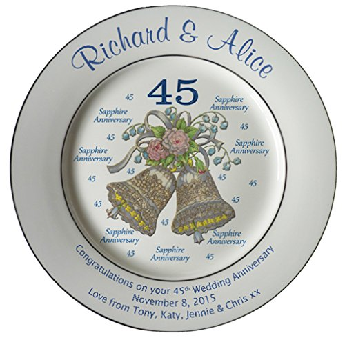 Heritage Pottery Personalized Bone China Commemorative Plate for A 45th Wedding Anniversary - Wedding Bells Design with 2 Silver Bands