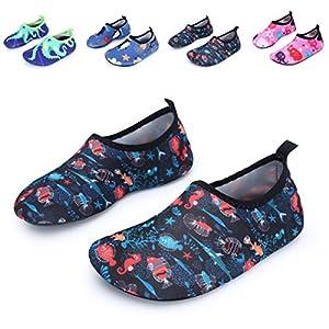 L-RUN Kids Quick-Dry Water Shoes Lightweight Aqua Socks Black 12.5-13=EU30-31