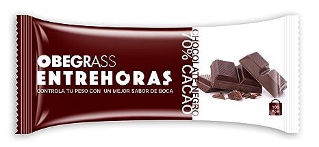Obegrass Barrita Saciante Entrehoras, Chocolate Negro - 20 Unidades