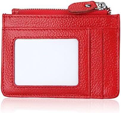 Slim RFID Blocking Card Wallet,Gazigo Minimalist Leather Credit Cards Holder with ID Window and Keychain