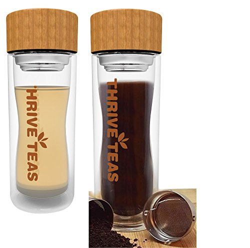 Thriveteas - Double Walled Glass Tea and Coffee Tumbler, Fruit Water Infuser - Glass Bottle with Bamboo Lid - 350 Ml