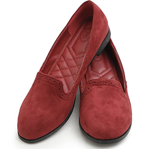 Ollio Scarpe Da Donna Balletto Finto-suede Carino Comfort Multi Color Bordeaux Piatto