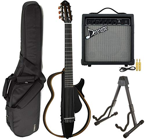 (Yamaha SLG200N TBL Nylon Silent String Acoustic Electric Guitar Translucent Black with the Donner 10W Electric Guitar Amplifier, Gigbag, and Guitar Stand)