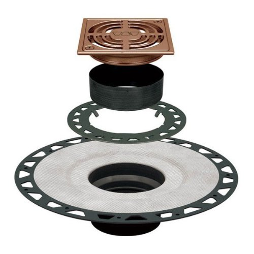Schluter KERDI-DRAIN - ABS Flange - Residential Adaptor Kit - 4'' Square Grate - Brushed Bronze Anodized Aluminum by Schluter Systems