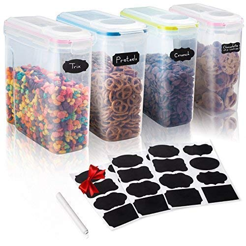 Set of 4 Cereal & Dry Food Storage Container - W/Colorful Ai