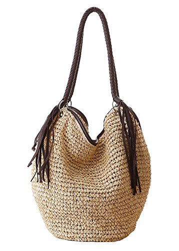 Woven Tote Bag Leisure Shoulder Paper Large Tonwhar String Beige Beach Capacity Bag ECvwBf0qx