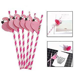 Jzhen 50 pezzi Cannucce di Carta per Cocktail,Monouso Carta Cannucce Pieghevoli con Fenicottero per Compleanno/Festa di… 3 spesavip